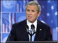 President George W Bush speaks at Fort Bragg