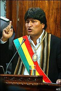 Evo Morales en la toma de posesi�n
