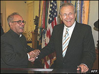 Pranab Mukherjee and Donald Rumsfeld