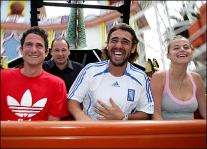 Marcos Baghdatis, his coach Guillaume Payre (left) and his girlfriend Camille Neviere