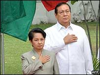 Gloria Arroyo (left) and her husband Jose Miguel - archive picture