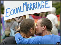 Alex and partner Jason in a rally for equal marriage on Parliament Hill in Ottawa, Canada prior to the same-sex marriage bill being approved