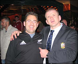 An All Blacks fan with Lions player Graham Rowntree