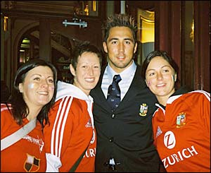 Bethan Jones from Swansea and her friends Emma and Gemma with Gavin Henson