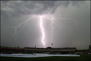 A bolt of lightening over Edgbaston