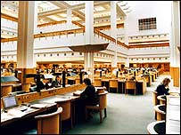 Reading room at the British Library