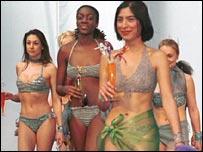 Models in bikinis