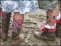Muddy boots at Glastonbury 2005