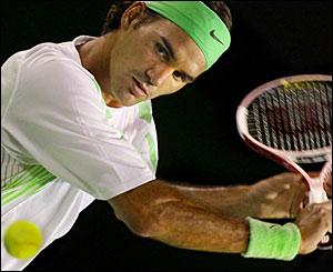 Roger Federer against opponent Tommy Haas