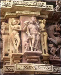Statues of dancing courtesan in India's Khajuraho temples