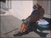 Elderly homeless woman
