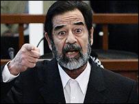 Saddam Hussein is court