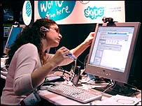 Woman using Skype 