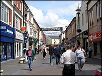 Shoppers in Bridgend town centre