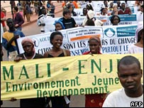 demonstration at start of World Social Forum In Mali