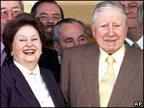 Former Chilean dictator Gen. Augusto Pinochet with his wife Lucia Hiriart (centre)  in 2000