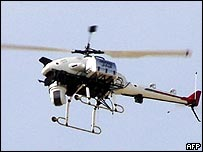 A Yamaha remote controlled helicopter operating in the Iraqi city of Samawa