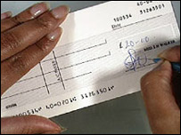 A cheque being written