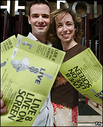 Twins Jonathan Horner and Alexandra from Worthing, west Sussex, with their Live8 Live On Screen Tickets