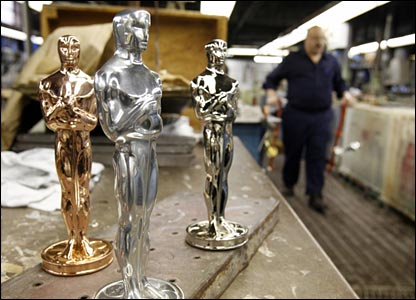 Oscar statuettes with copper, nickel and silver plating