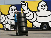 Michelin tyres in the Formula One paddock