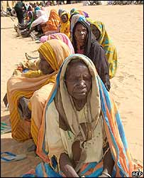Displaced Darfurian women in Abu Shouk, North Darfur