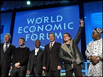 Bill Clinton, Bill Gates, Thabo Mbeki, Tony Blair, Bono and Olusegun Obasanjo in Davos 2005