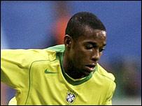 Robinho in action for Brazil against Argentina