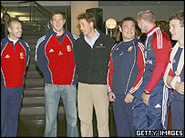 Prince William (third from left) talks with British and Irish Lions coach, Sir Clive Woodward (Left) and squad members Will Greenwood, Gordon Bulloch, Gareth Thomas and Brian O'Driscoll