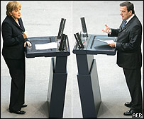 Angela Merkel and Gerhard Schroeder