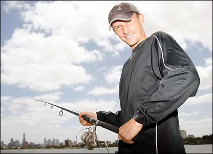 Nikolay Davydenko goes fishing