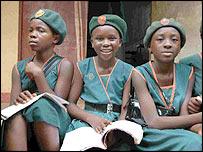 Aminata Palmer with friends at school