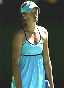 Maria Sharapova shows her frustration against Nadia Petrova