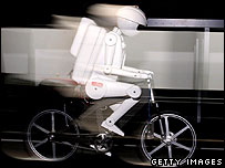 Robot on a bicycle
