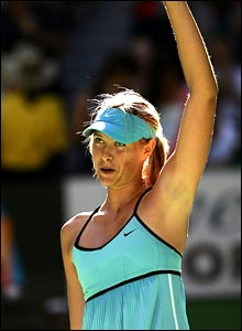 Maria Sharapova celebrates her narrow victory