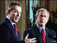 Tony Blair, George W  Bush
