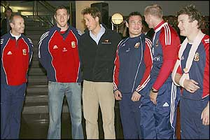 From left to right: Sir Clive Woodward, Will Greenwood, Prince William, Gordon Bulloch, Gareth Thomas and Brian O'Driscoll