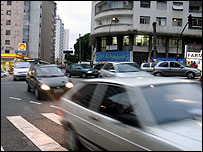 Cars in Sao Paulo city centre