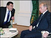 Saparmurat Niyazov y Vladimir Putin