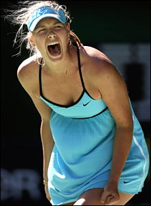 Maria Sharapova wins a key point against Nadia Petrova