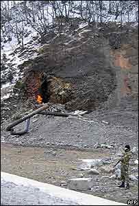 Gasoducto afectado cerca a frontera con Georgia.