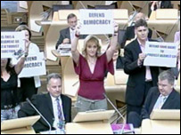 Scottish Socialist MSPs disrupted business at Holyrood 