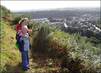 G Giles' son and daughter Lucy and Nathan overlooking Talbot Green