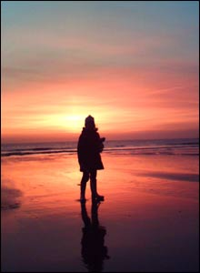 Angharad Jones on Ogmore beach at sunset (Gareth Jones)