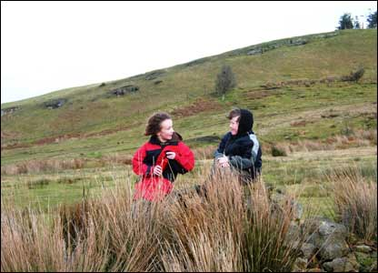 Karl Williams' sons Kallum and Owain on a particularly blustery day as they walked around Llandrindod Wells