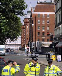 Police outside the sealed-off University College London Hospital on 21 July