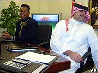 Michael Jackson's brother Jermaine with Bahrain's Sheik Abdulla bin Hamad Al Khalifa