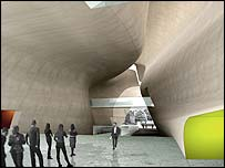 Architects' impression of the entrance hall (pic: Architects Lahdelma & Mahlamaki))