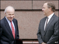 Ken Lay (left) and Jeffrey Skilling at a pre-trial hearing in December