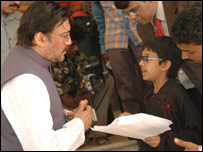 Master Kishan with Bollywood star Jackie Shroff